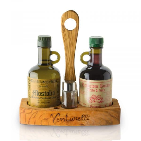 Oliera con olio extravergine Mostolio, sale e pepe